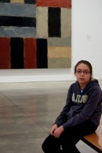 Trinity being bored in the Sean Scully gallery.
