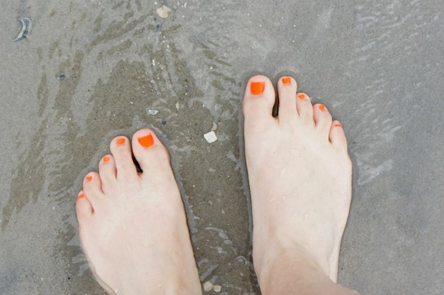 Orange Toes in the Ocean