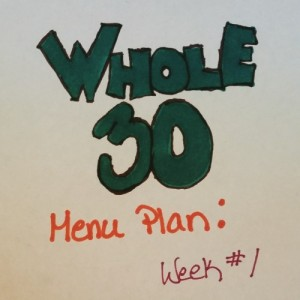 Whole 30 Menu Plan Week 1